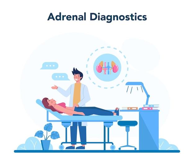 Concetto di endocrinologo. esame delle ghiandole surrenali. il medico esamina l'ormone e il glucosio. idea di salute e cure mediche.