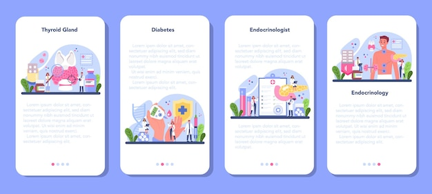 Set di banner per applicazioni mobili endocrinologo