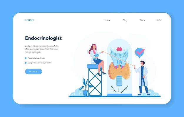 Banner web o pagina di destinazione dell'endocrinologo.