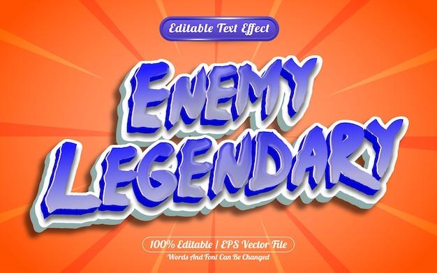 Nemico leggendario effetto di testo modificabile 3d in stile cartone animato o gioco