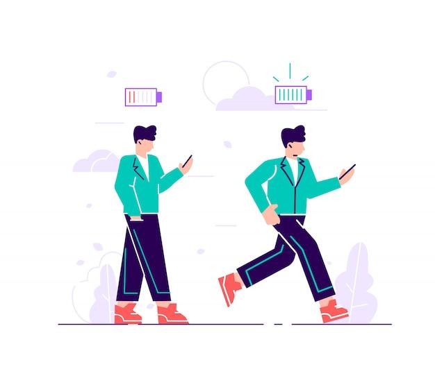 Insieme di illustrazioni di vettore di lavoratori energici ed esausti. impiegato maschio felice e infelice e indicatore di carica della batteria.