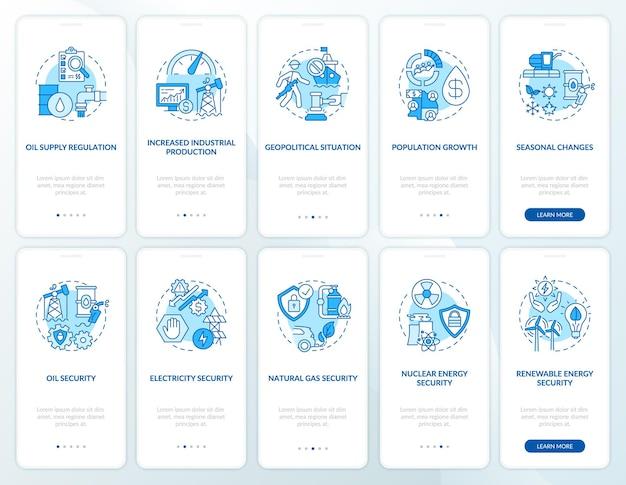 Schermata della pagina dell'app mobile di onboarding di sicurezza energetica con set di concetti. tipi e fattori di costo: istruzioni grafiche in 5 passaggi.