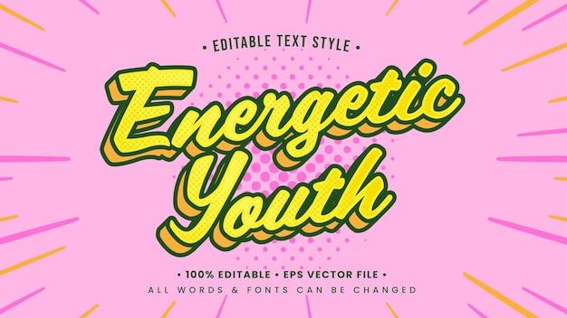 Effetto di stile di testo 3d energico della gioventù. stile di testo dell'illustratore modificabile.