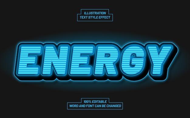 Effetto di stile di testo grassetto 3d di energia