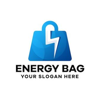 Modello di logo gradiente di borsa di energia