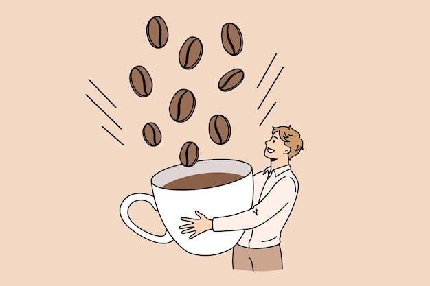 Concetto di colazione bevanda energetica caffè. personaggio dei cartoni animati di giovane uomo sorridente in piedi che raccoglie enormi chicchi di caffè per l'illustrazione vettoriale della tazza