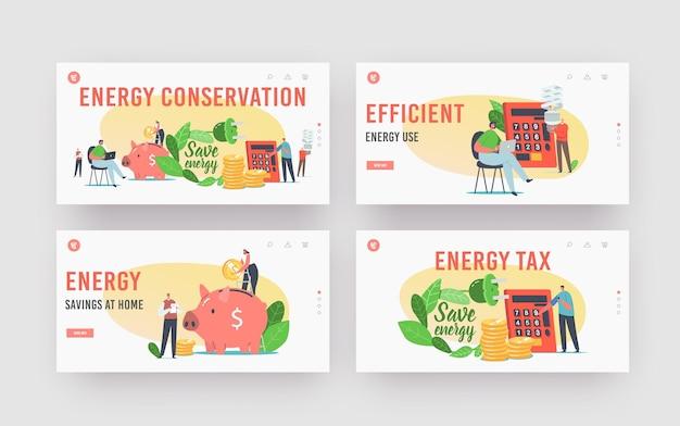 Insieme di modelli di pagina di destinazione per il risparmio energetico. piccoli personaggi femminili maschili mettono monete in un enorme salvadanaio, usano lampade ecologiche a risparmio energetico, contando i benefici sulla calcolatrice. cartoon persone illustrazione vettoriale