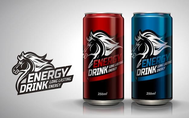 Bevanda energetica, due lattine metalliche con logo a cavallo in illustrazione 3d