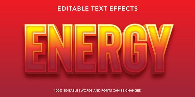 Effetto di testo modificabile energia Vettore Premium