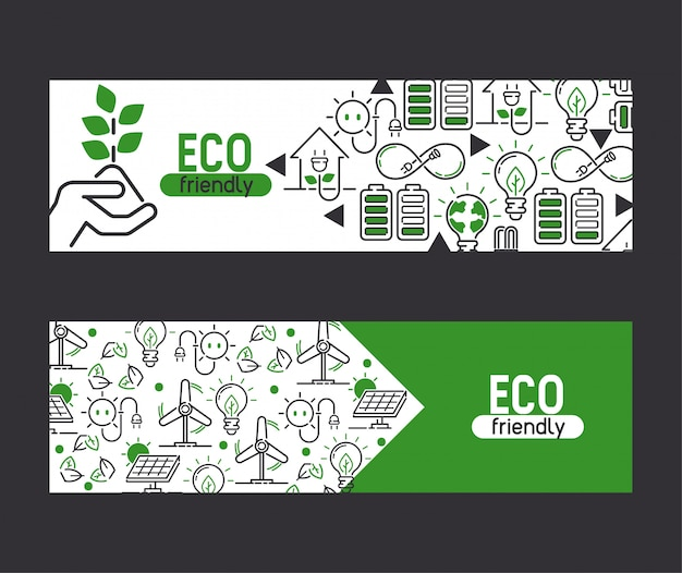 Energia elettricità e terra energia eco lampadine elettriche energia del banner pannelli solari Vettore Premium
