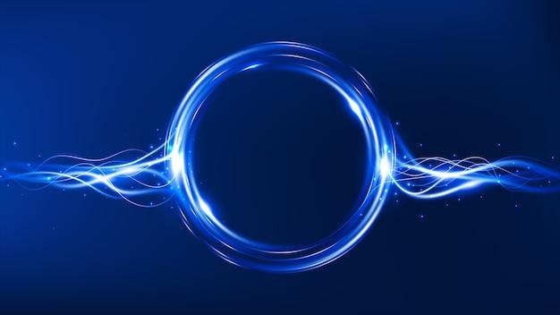 Flusso di energia. cornice magica. effetto luce blu. sfondo