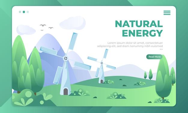 Energia dalla natura, vista del paesaggio sul modello della pagina di destinazione