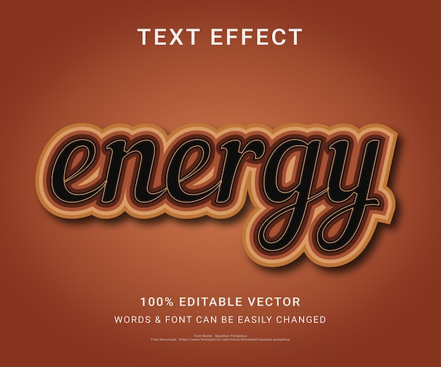 Energia effetto testo modificabile