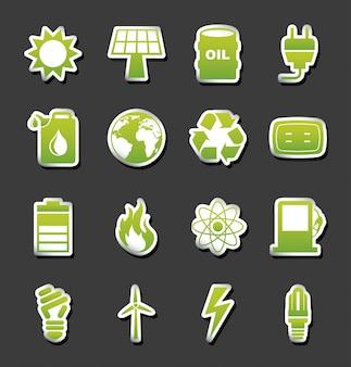 Icone di energia sopra illustrazione vettoriale sfondo nero