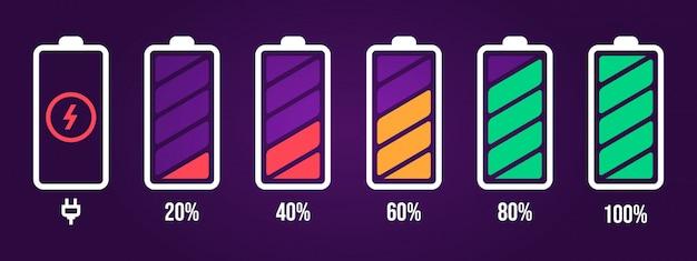 Icona del livello di energia. caricare il carico, l'indicatore della batteria del telefono, il livello di potenza dello smartphone, l'energia dell'accumulatore vuota e le icone di stato complete impostate. pacchetto del segno della batteria di caricamento su fondo porpora