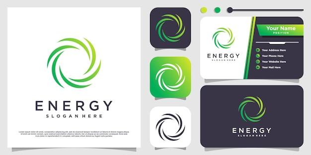 Design del logo energetico con elemento creativo vettore premium