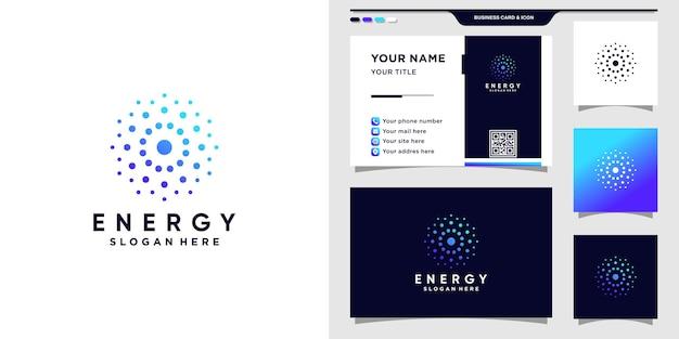 Logo energetico per la tecnologia con concetto di punto creativo e design di biglietti da visita.