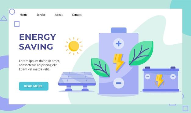 Campagna di batterie a risparmio energetico con fulmini a foglia verde per la pagina di destinazione della home page del sito web di energia solare