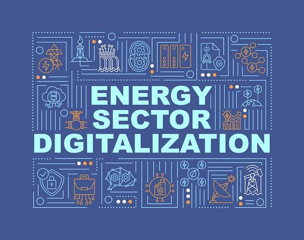 Banner di concetti di parola di digitalizzazione del settore energetico