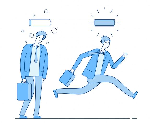 Energia e uomo d'affari stanco. potente persona che corre e che cammina debole con piena carica e batteria scarica. attività commerciale