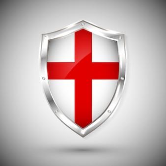 Bandiera enfland su scudo in metallo lucido. raccolta di bandiere sullo scudo su sfondo bianco. oggetto isolato astratto.