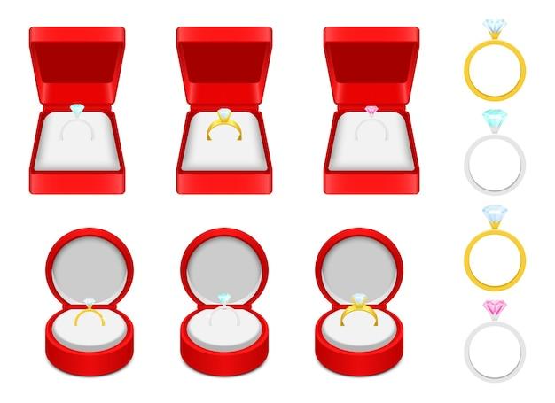 Illustrazione di anello di fidanzamento isolato su priorità bassa bianca