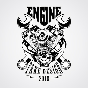 Logo del garage del motore Vettore Premium