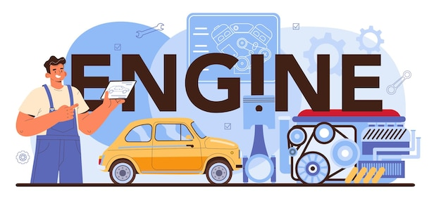 Intestazione tipografica del motore. servizio di riparazione auto. motore dell'automobile