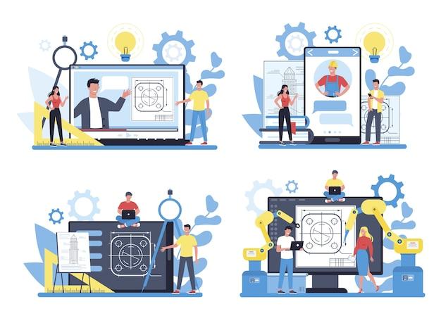 Piattaforma o servizio online di ingegneria su un set di concetti di dispositivi diversi. tecnologia e scienza. occupazione professionale e costruzione di macchine e strutture.