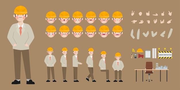 Creazione del personaggio di un ingegnere per l'animazione pronto per l'emozione del viso e della bocca animati