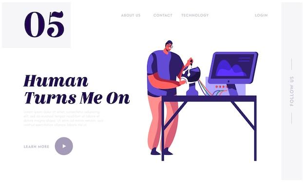Ingegnere che crea un modello di pagina di destinazione del robot