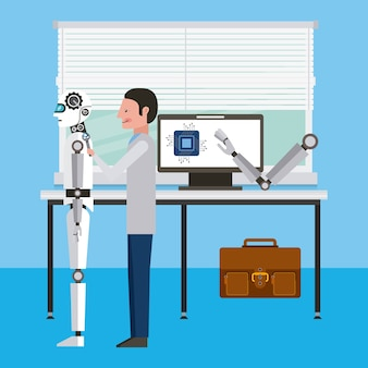 L'ingegnere ripara l'officina del robot di intelligenza artificiale