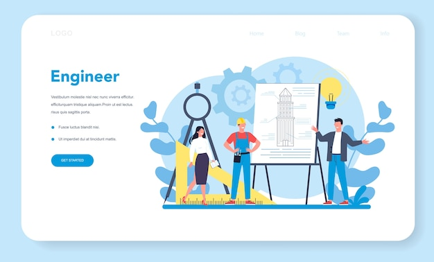 Banner web ingegnere o pagina di destinazione