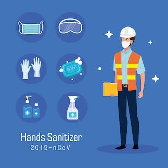 Ingegnere con consigli di prevenzione maschera e disinfettante mani