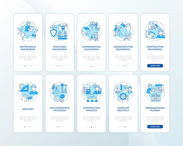 Schermata della pagina dell'app mobile di onboarding blu dei tipi di competenze ingegneristiche con set di concetti