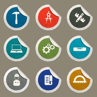 Set di icone di ingegneria per siti web e interfaccia utente