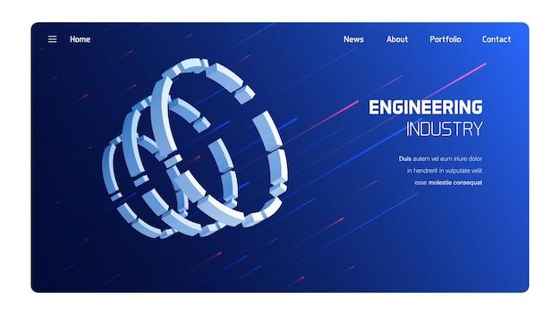 Meccanismo 3d di industria di ingegneria, concezione di tecnologia futuristica Vettore Premium