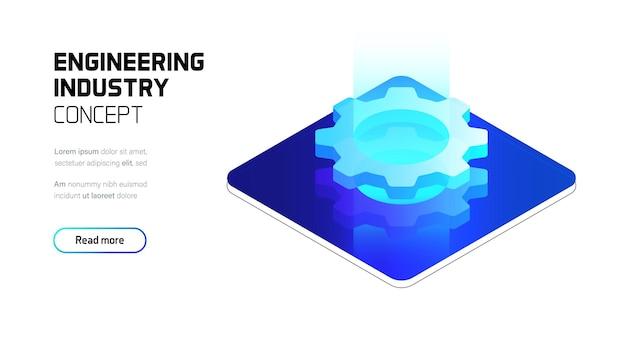 Illustrazione futuristica di concetto dell'ologramma di industria di ingegneria