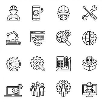 Set di icone di ingegneria e produzione. calcio stile linea sottile