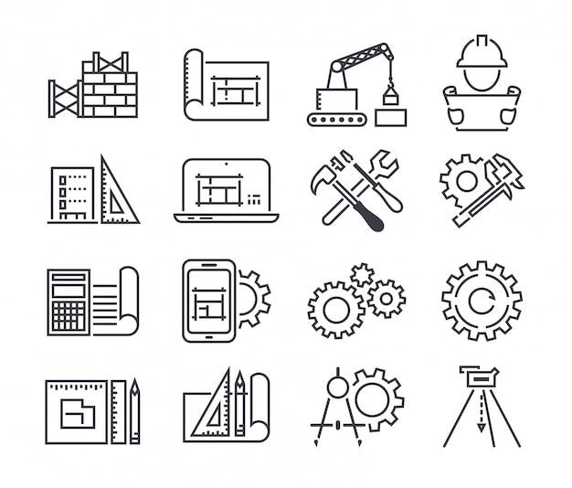 Set di icone vettoriali di ingegneria e produzione
