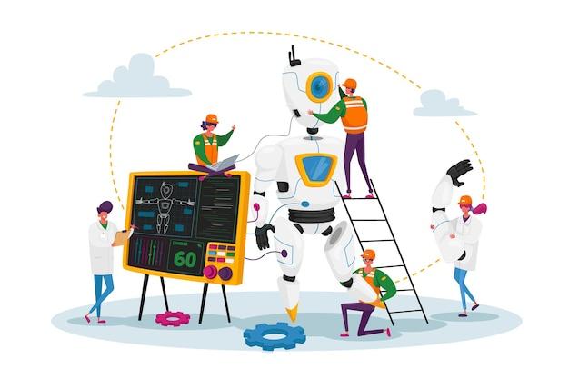 I personaggi degli ingegneri fanno e l'illustrazione del robot di programmazione