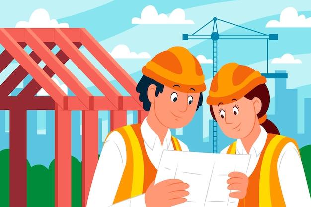 Ingegneri che lavorano alla costruzione