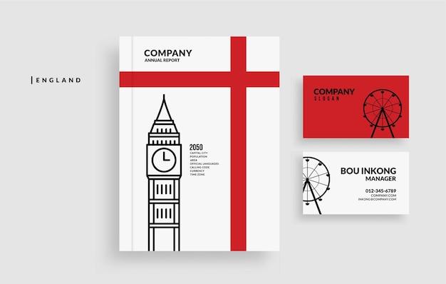 Copertina del libro del rapporto annuale dell'inghilterra e design minimale del biglietto da visita