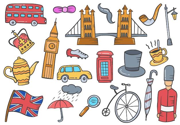 L'inghilterra o il paese o la nazione britannico scarabocchiano collezioni di set disegnate a mano con illustrazioni vettoriali in stile contorno piatto