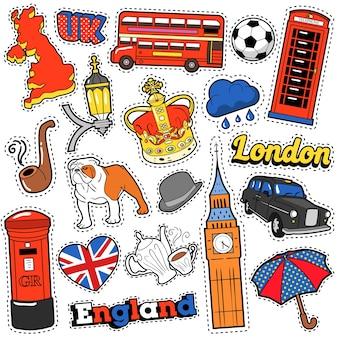 Adesivi, toppe, badge per album di viaggi in inghilterra con taxi di londra, corona reale ed elementi britannici. doodle di stile comico