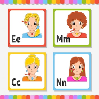 Alfabeto inglese. lettera e, m, c, n. carte flash quadrati abc. personaggio dei cartoni animati isolato su sfondo bianco.