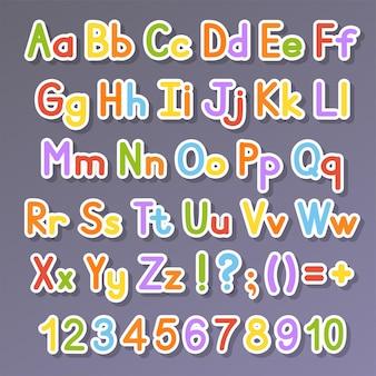 Alfabeto inglese insieme di vettore stile di colore brillante cartoon abc