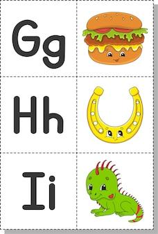 Alfabeto inglese con personaggi dei cartoni animati. schede flash.
