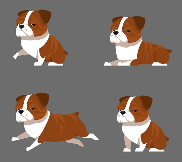 Bulldog inglese in diverse pose. animale domestico divertente nell'illustrazione di stile del fumetto