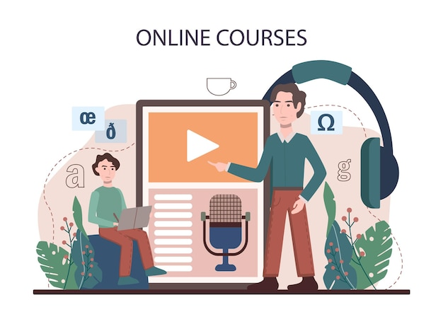 Servizio o piattaforma online di lezioni di inglese. studia le lingue straniere a scuola